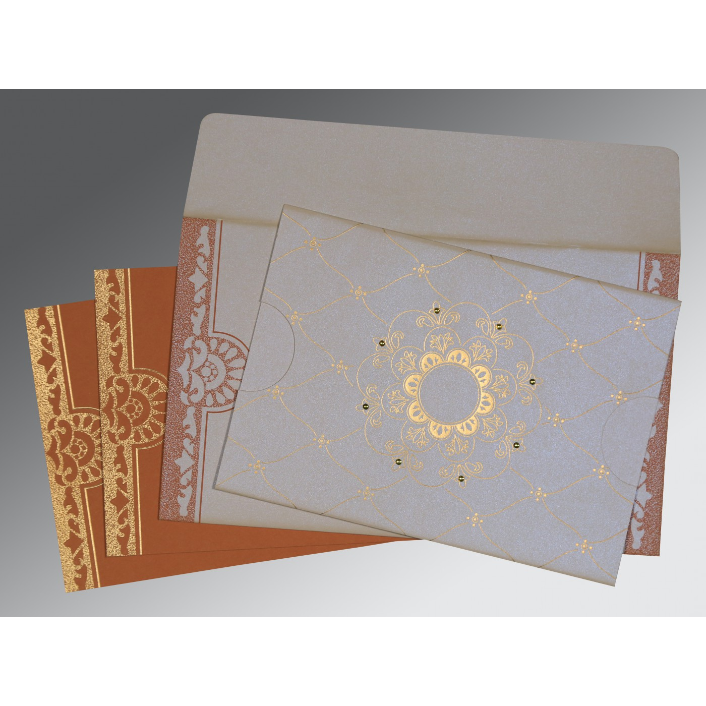 OFF-WHITE SHIMMERY FLORAL THEMED - SCREEN PRINTED WEDDING CARD : ASO-8227L - A2zWeddingCards