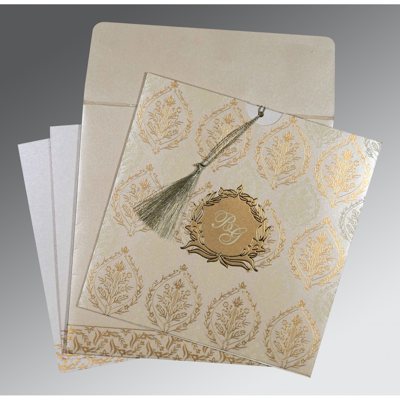 IVORY SHIMMERY UNIQUE THEMED - FOIL STAMPED WEDDING CARD : ASO-8249B - A2zWeddingCards