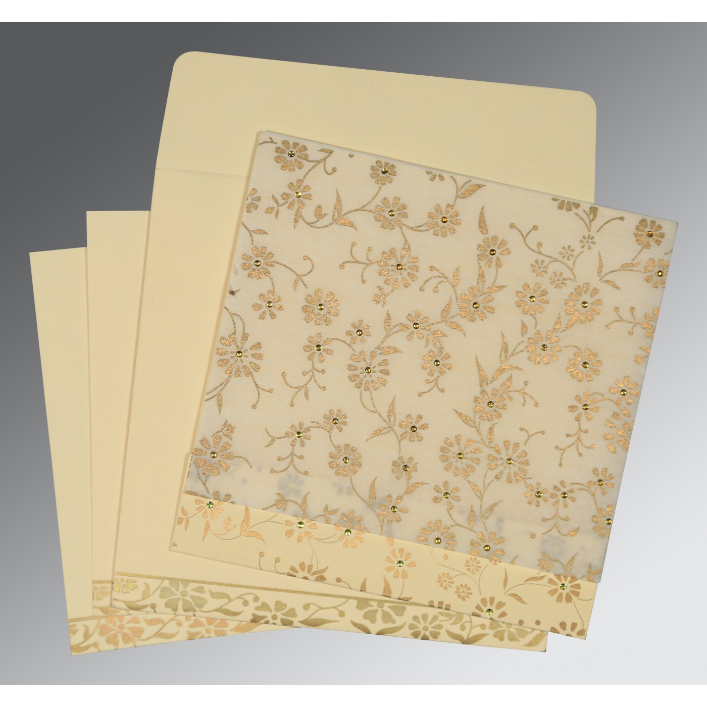 OFF-WHITE MATTE FLORAL THEMED - SCREEN PRINTED WEDDING CARD : AIN-8222I - A2zWeddingCards