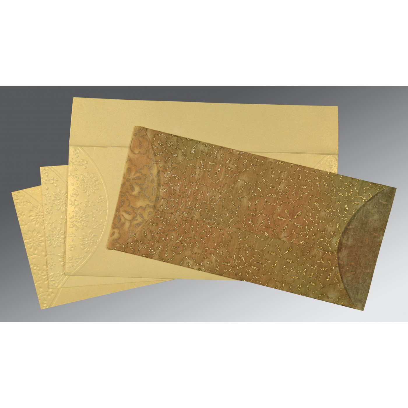 GOLD WOOLY EMBOSSED WEDDING INVITATION : AS-1391 - A2zWeddingCards