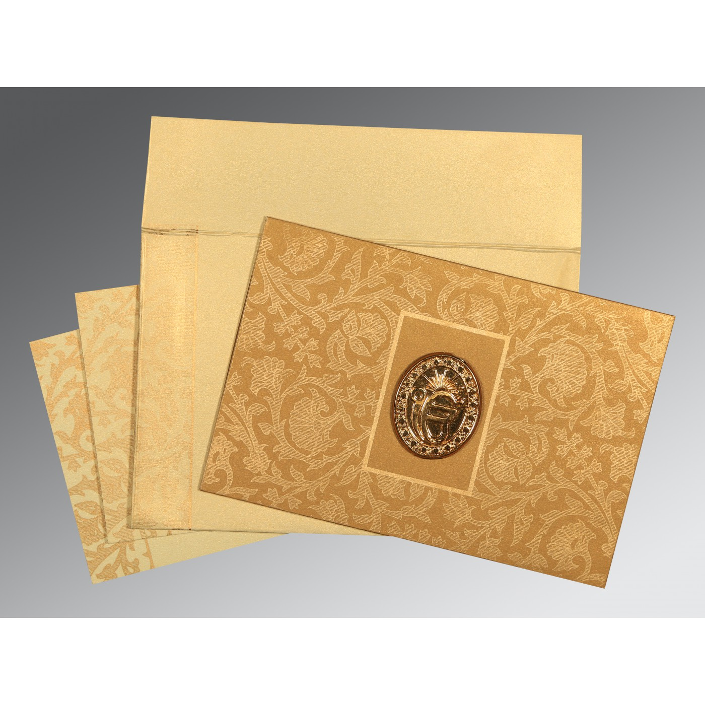 YELLOW GOLD SHIMMERY POCKET THEMED - EMBOSSED WEDDING INVITATION : AS-1434 - A2zWeddingCards