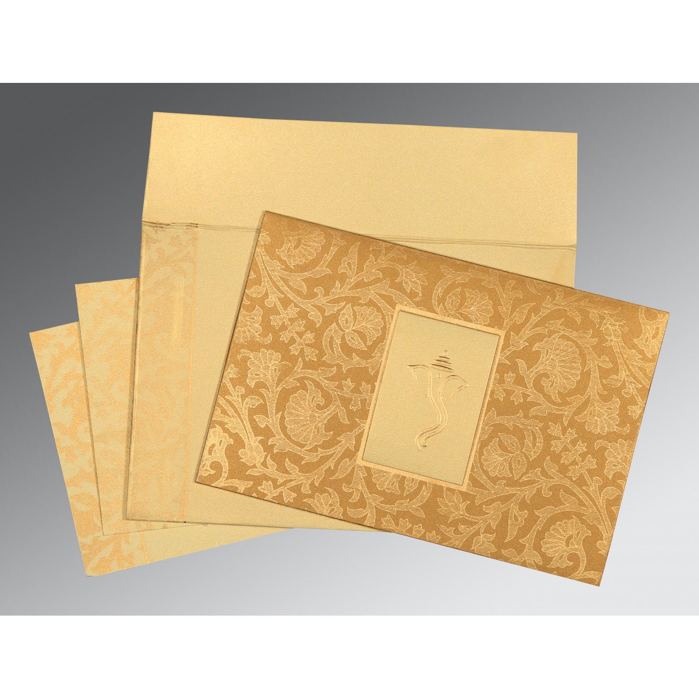 YELLOW GOLD SHIMMERY POCKET THEMED - EMBOSSED WEDDING INVITATION : AW-1434 - A2zWeddingCards