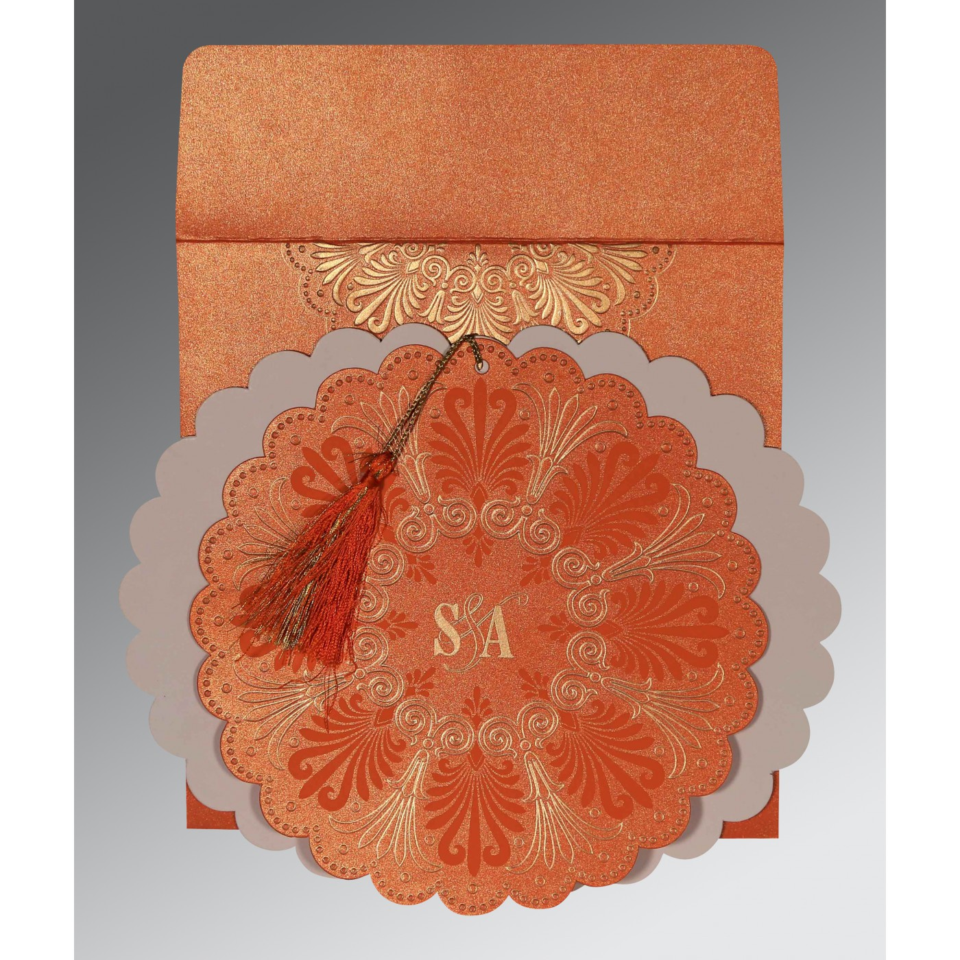 COPPER SHIMMERY FLORAL THEMED - EMBOSSED WEDDING CARD : ASO-8238F - A2zWeddingCards