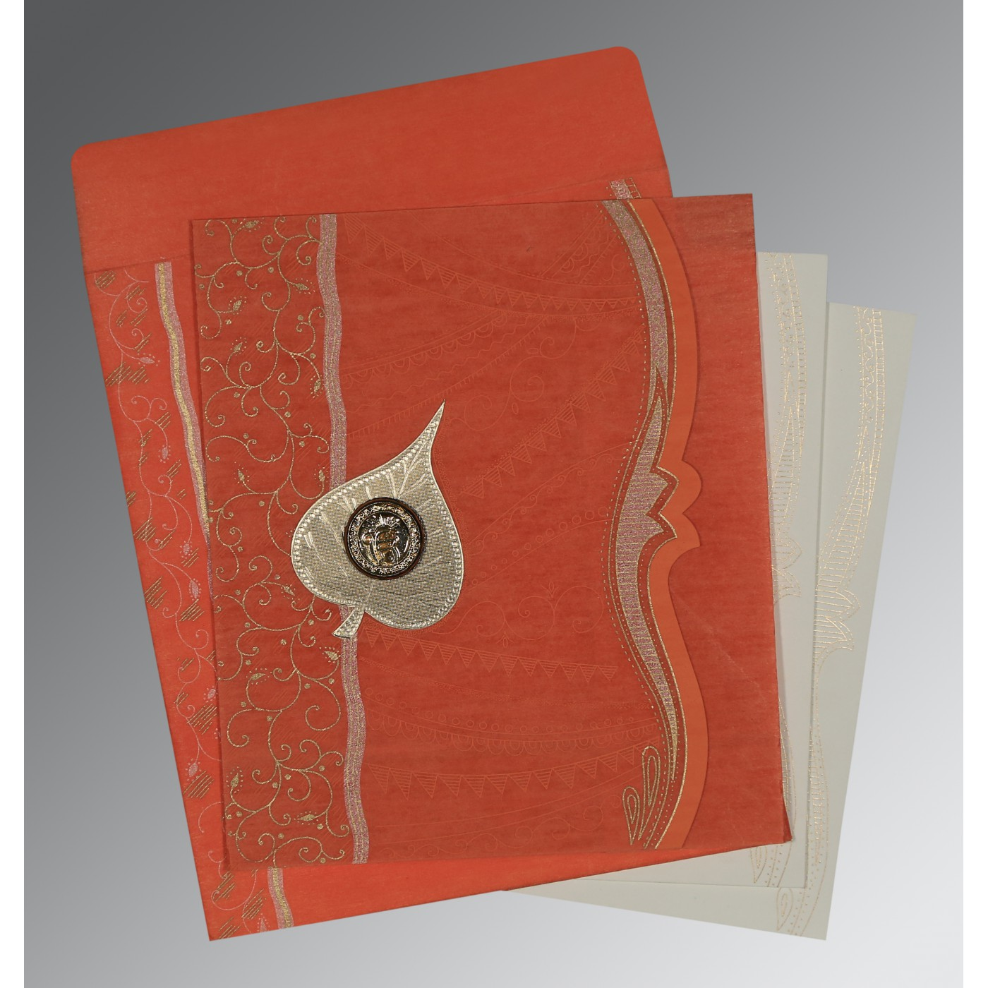 CORAL SHIMMERY EMBOSSED WEDDING CARD : AS-8210F - A2zWeddingCards