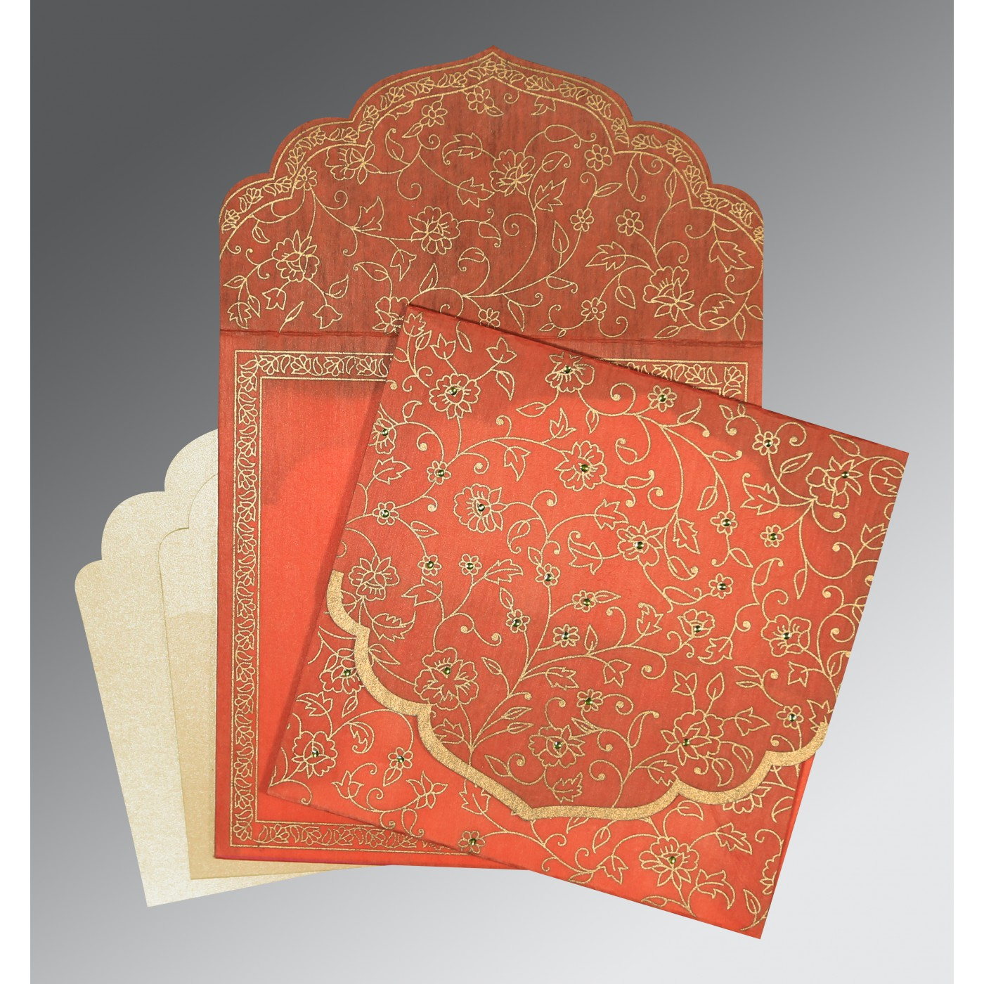 CORAL WOOLY FLORAL THEMED - SCREEN PRINTED WEDDING INVITATION : AG-8211F - A2zWeddingCards