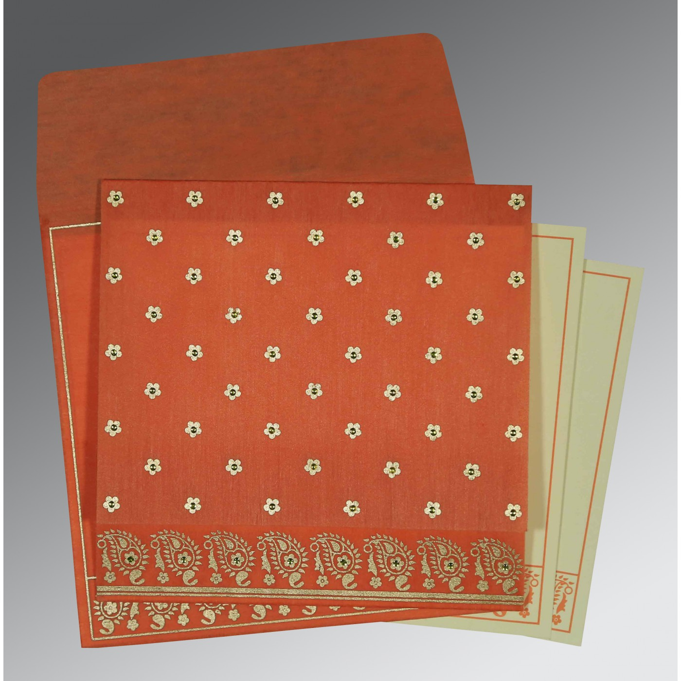 CORAL WOOLY FLORAL THEMED - SCREEN PRINTED WEDDING CARD : ASO-8218E - A2zWeddingCards