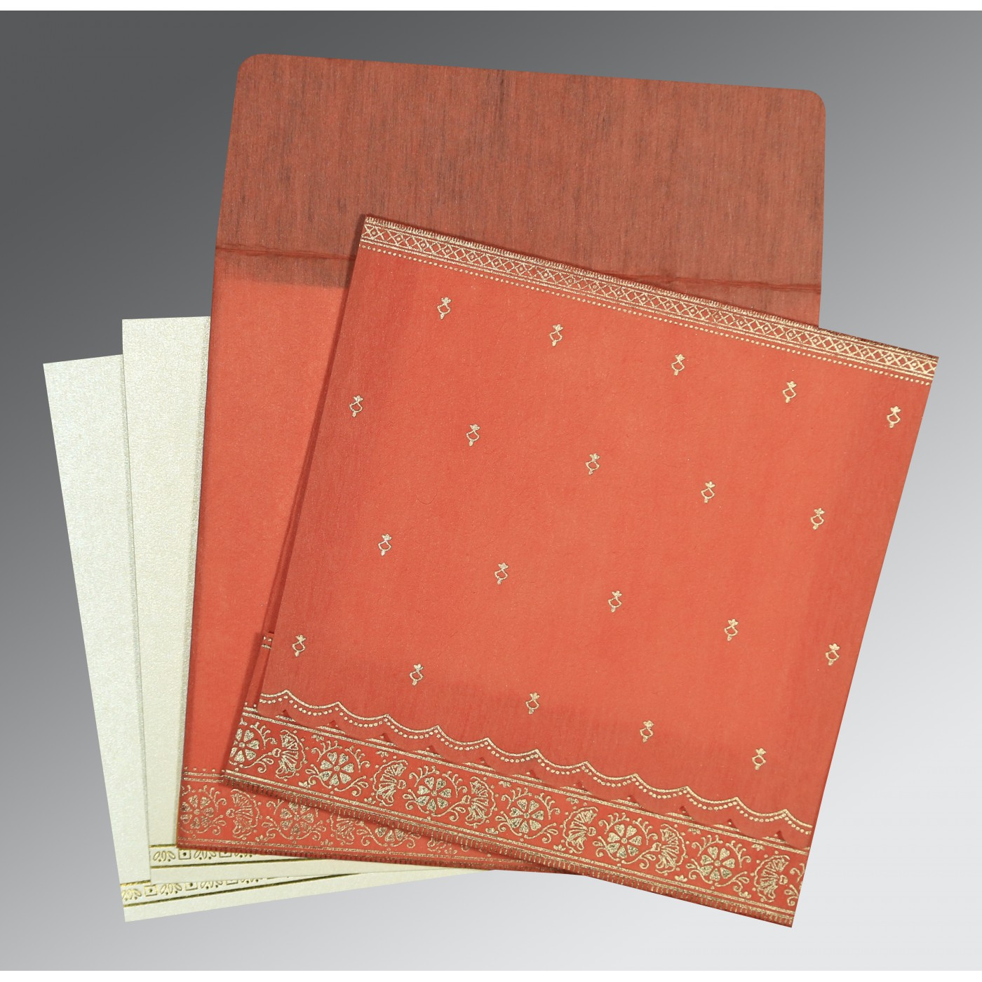 CORAL WOOLY FOIL STAMPED WEDDING CARD : AS-8242I - A2zWeddingCards