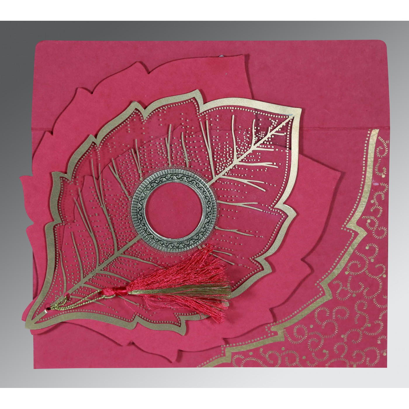 HOT PINK TRANSPARENT HANDMADE COTTON FLORAL THEMED - FOIL STAMPED WEDDING CARD : AD-8219F - A2zWeddingCards