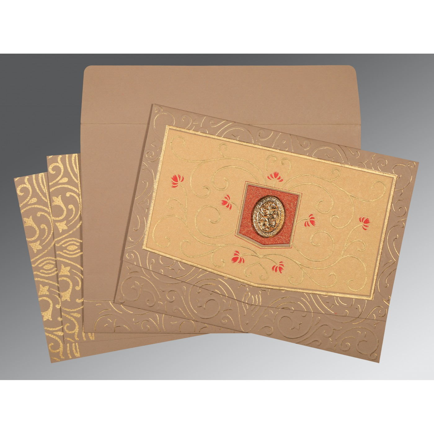 PALE TAUPE HANDMADE SHIMMER EMBOSSED WEDDING CARD : AI-1394 - A2zWeddingCards