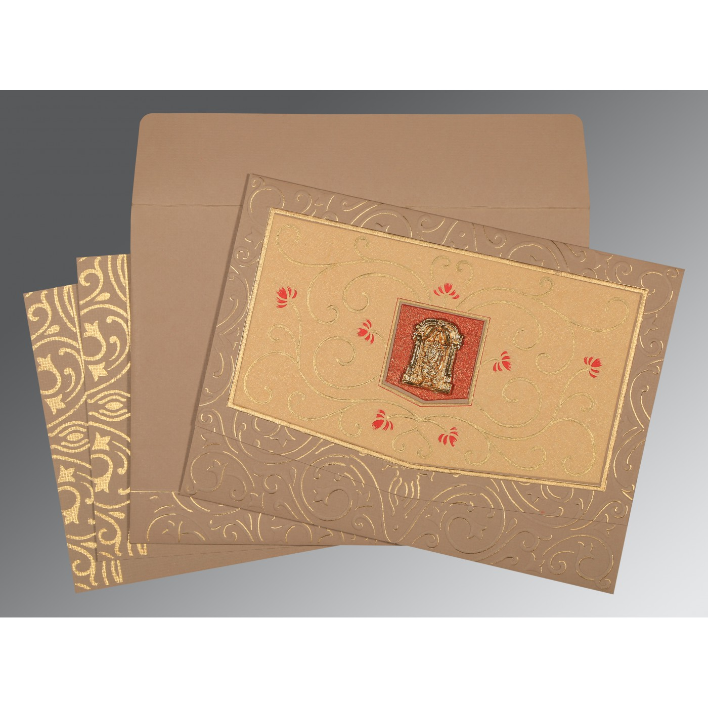 PALE TAUPE HANDMADE SHIMMER EMBOSSED WEDDING CARD : ASO-1394 - A2zWeddingCards