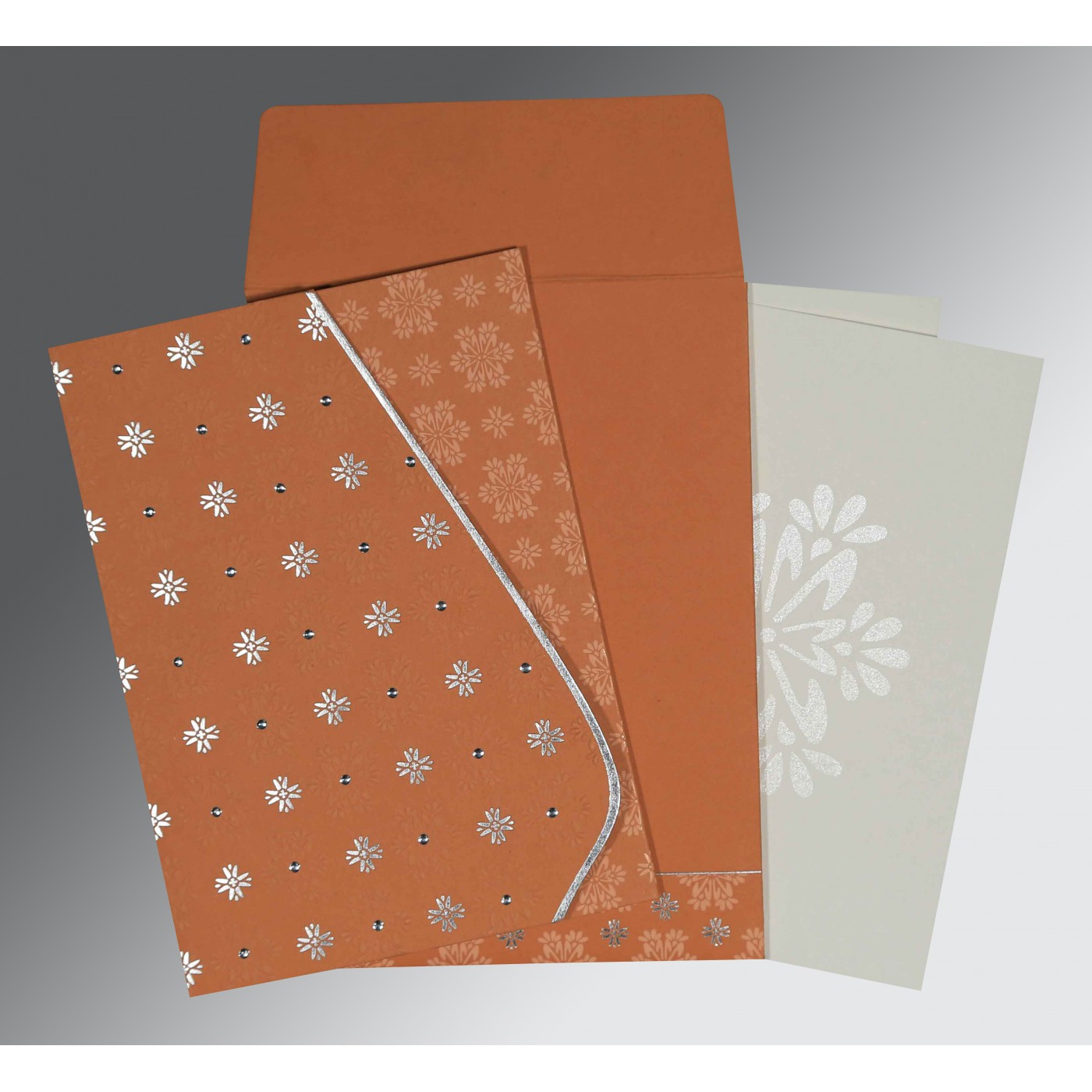 BROWN RUST MATTE FLORAL THEMED - FOIL STAMPED WEDDING INVITATION : ASO-8237C - A2zWeddingCards