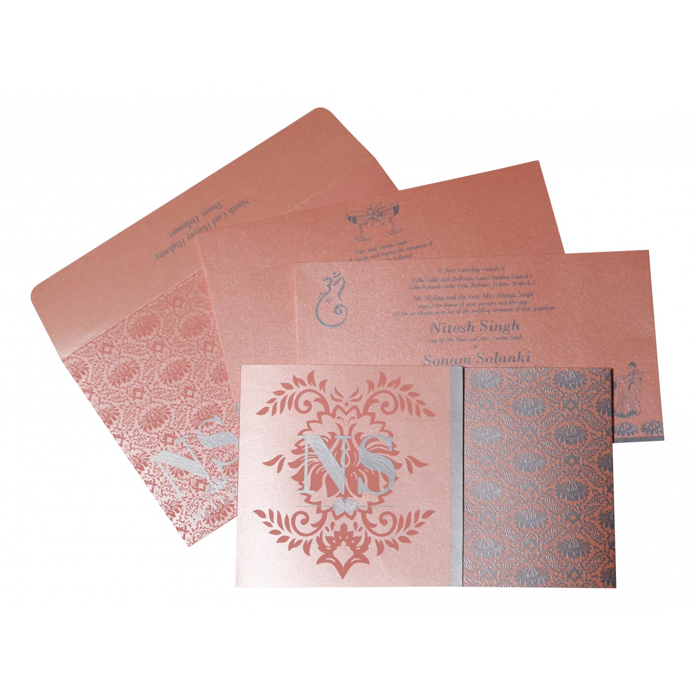 BABY PINK SHIMMERY DAMASK THEMED - SCREEN PRINTED WEDDING INVITATION : AIN-8261D - A2zWeddingCards