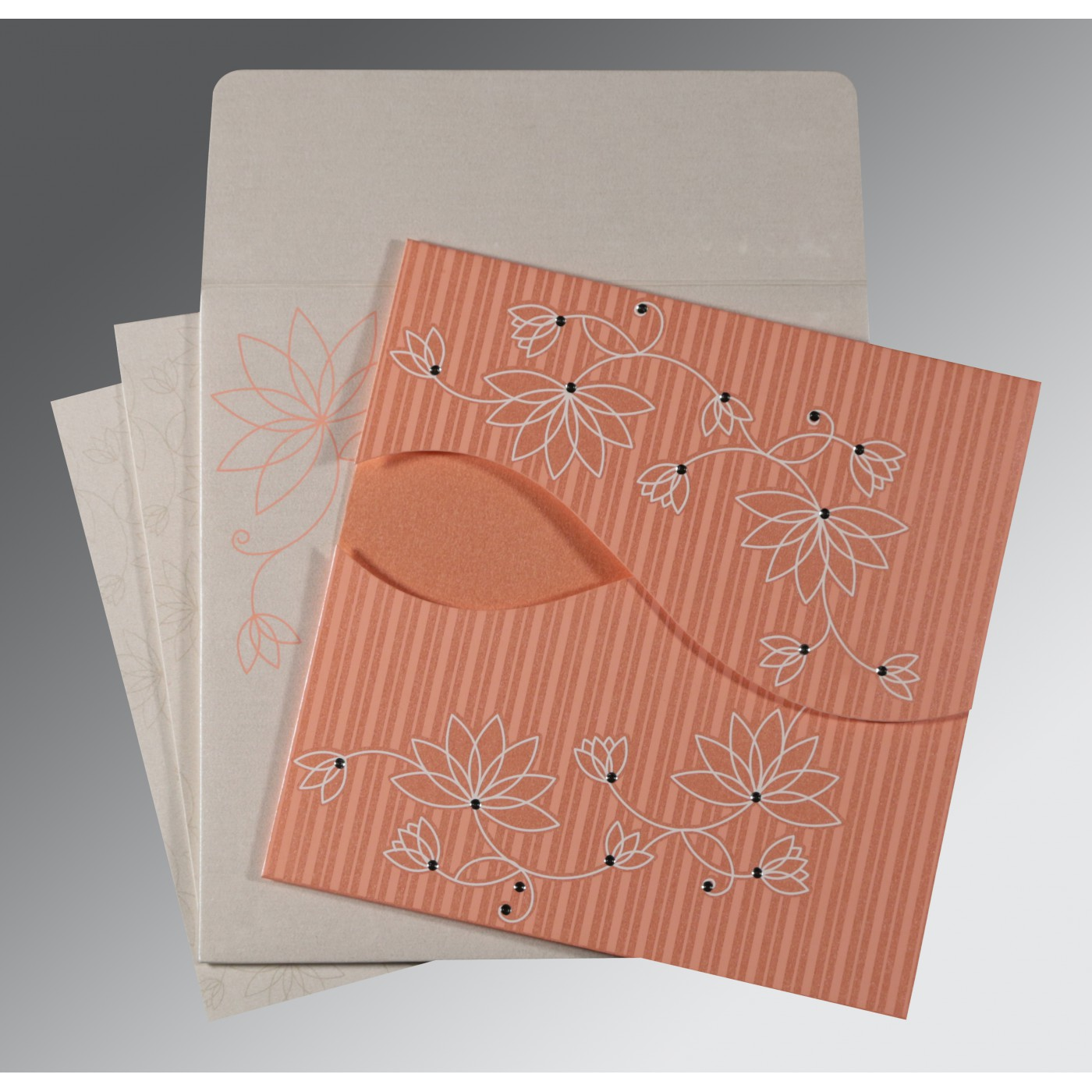 CORAL SHIMMERY FLORAL THEMED - SCREEN PRINTED WEDDING INVITATION : ASO-8251I - A2zWeddingCards