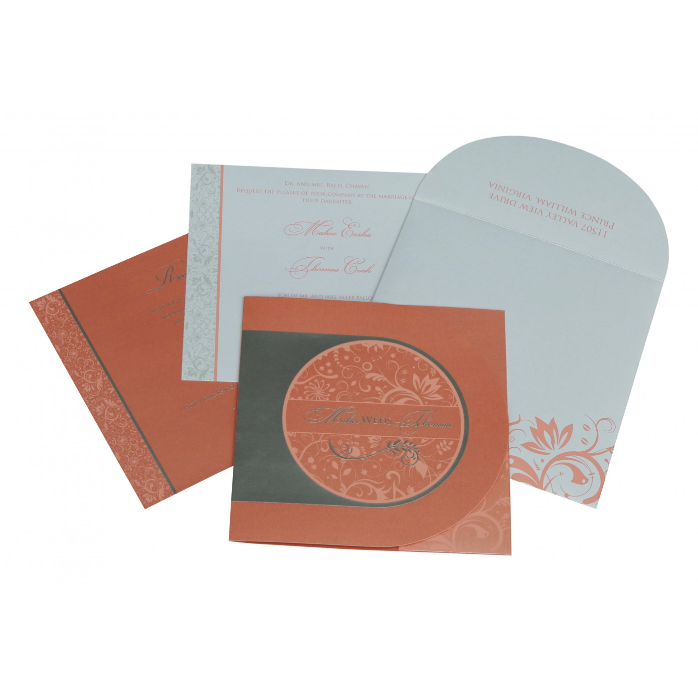 STRONG RED ORANGE SHIMMERY FLORAL THEMED - SCREEN PRINTED WEDDING CARD : AIN-8264A - A2zWeddingCards