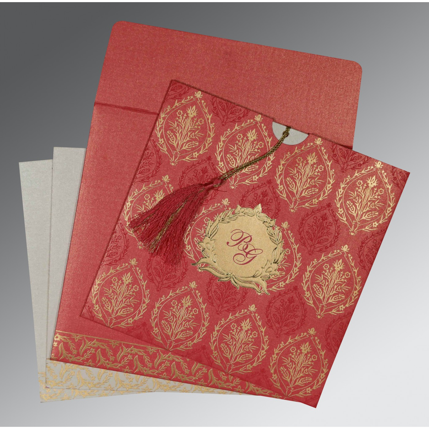 BRICK RED SHIMMERY UNIQUE THEMED - FOIL STAMPED WEDDING CARD : AIN-8249K - A2zWeddingCards