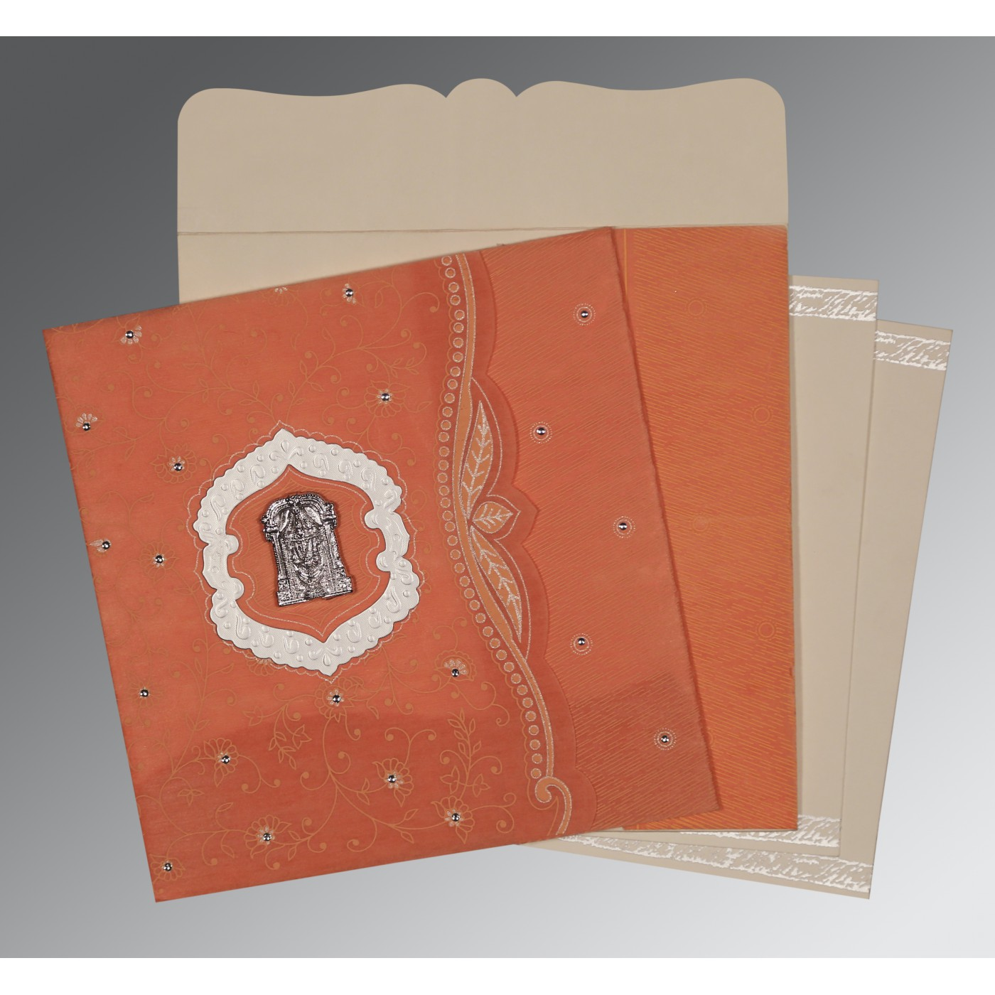 ORANGE SHIMMERY FLORAL THEMED - EMBOSSED WEDDING CARD : ASO-8209A - A2zWeddingCards