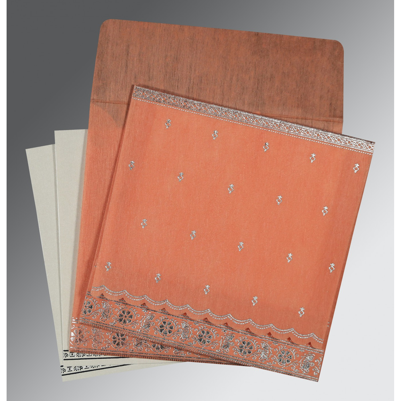 CORAL WOOLY FOIL STAMPED WEDDING CARD : AG-8242L - A2zWeddingCards