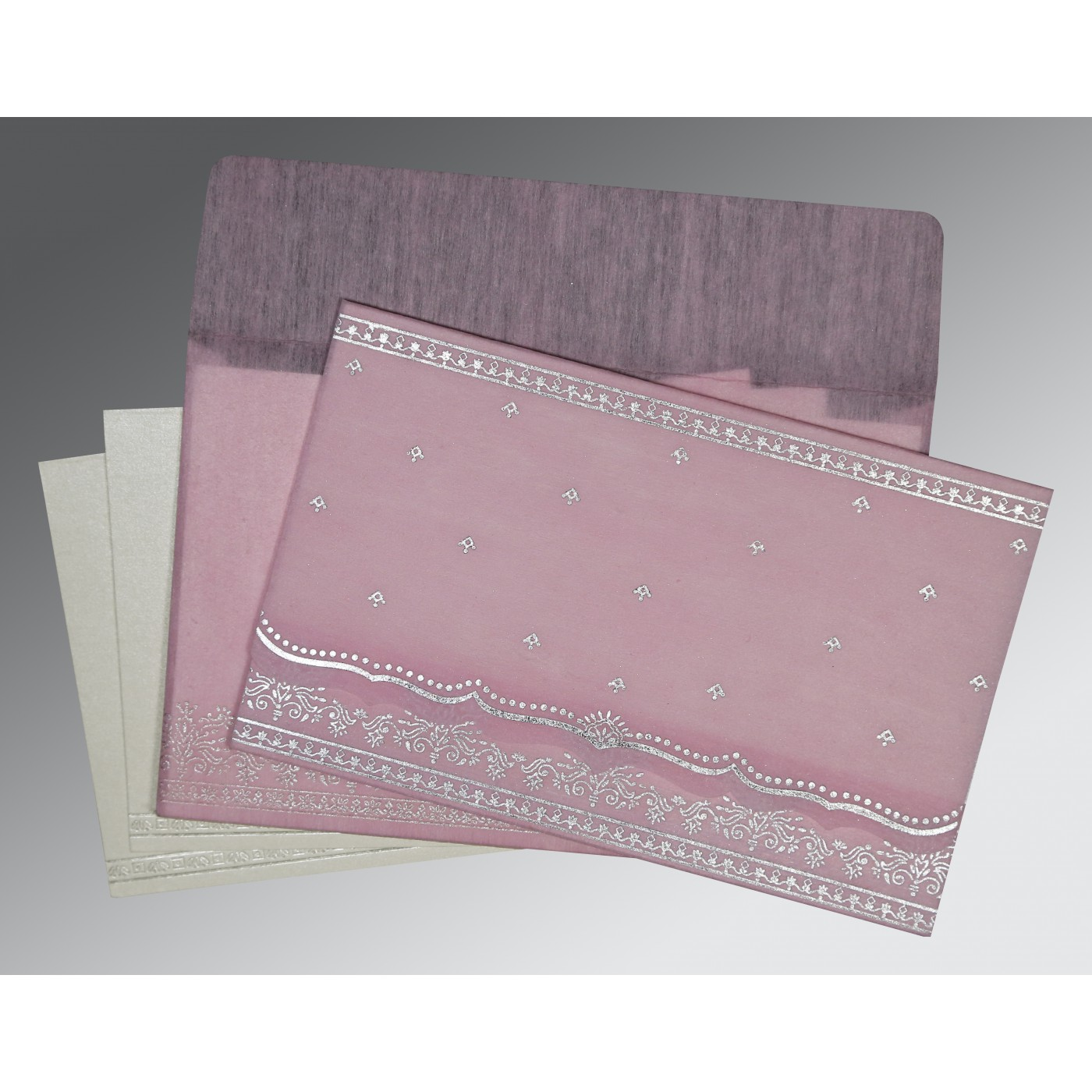 BABY PINK WOOLY FOIL STAMPED WEDDING INVITATION : ASO-8241E - A2zWeddingCards