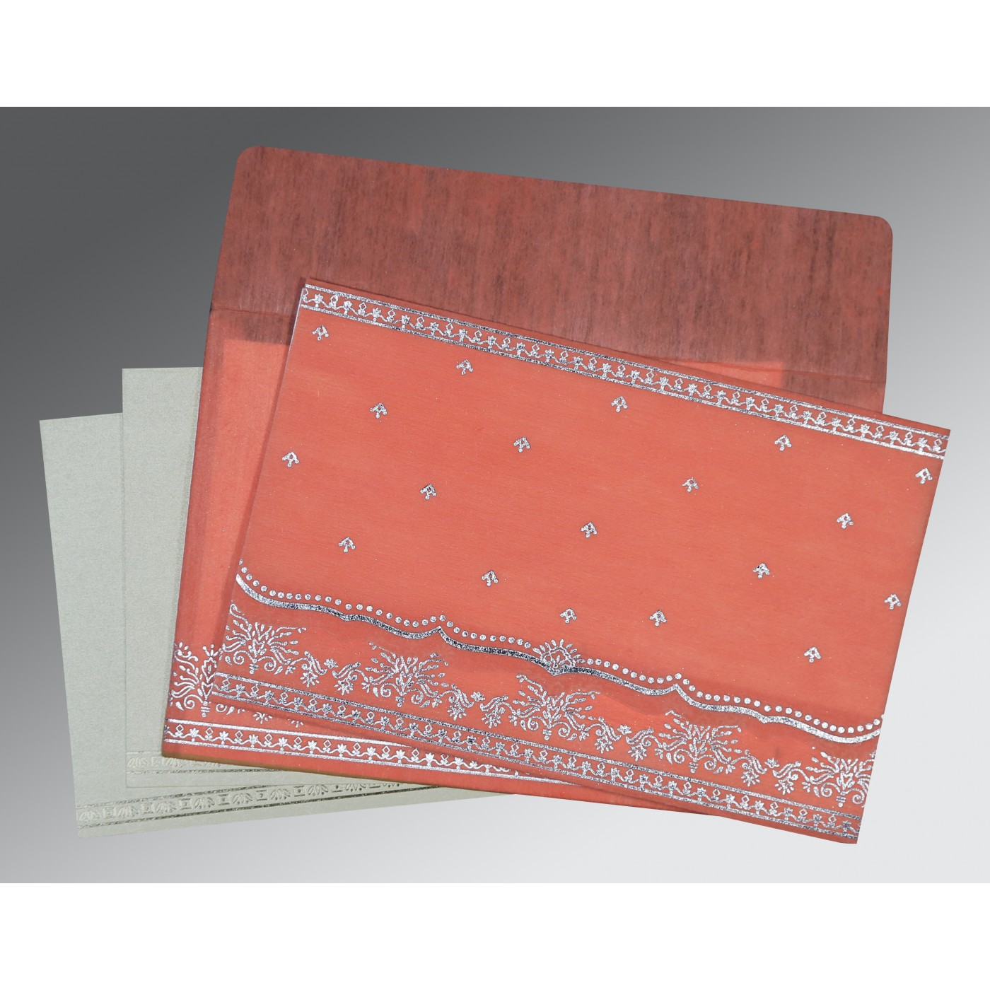 CORAL WOOLY FOIL STAMPED WEDDING INVITATION : AW-8241G - A2zWeddingCards