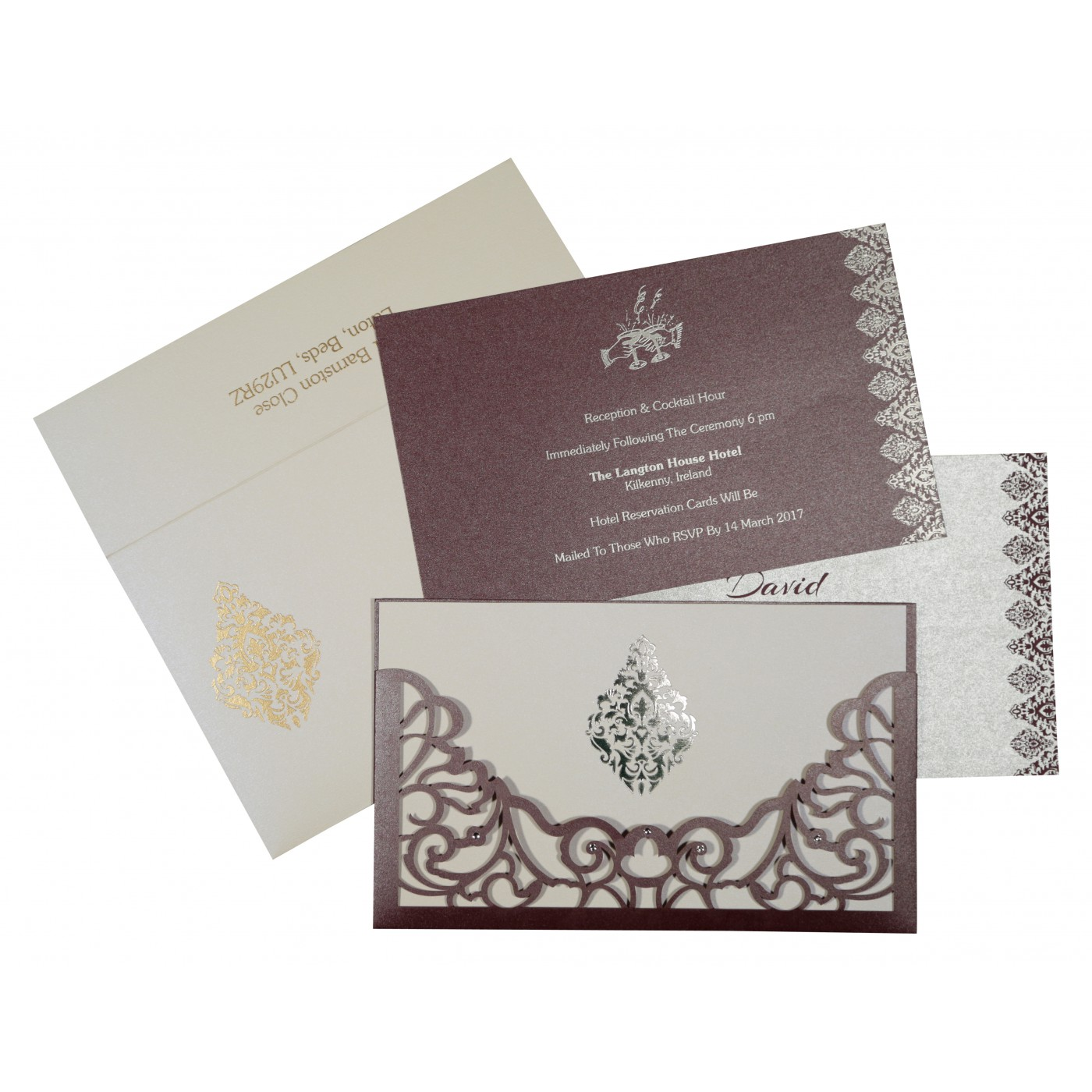 DESATURATED PINK SHIMMERY DAMASK THEMED - LASER CUT WEDDING CARD : AS-8262B - A2zWeddingCards