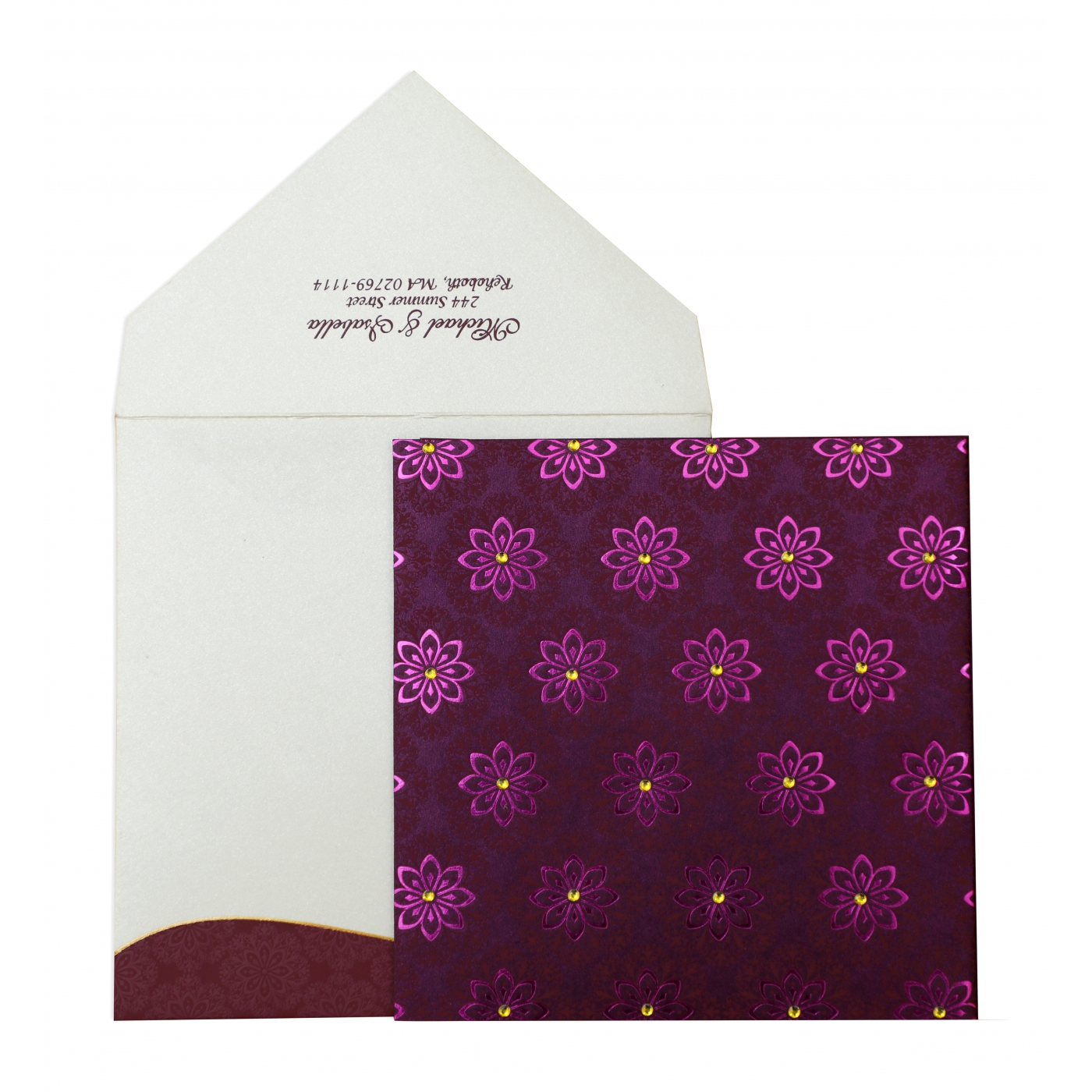 PURPLE SHIMMERY FLORAL THEMED - FOIL STAMPED WEDDING INVITATION : AD-837 - A2zWeddingCards