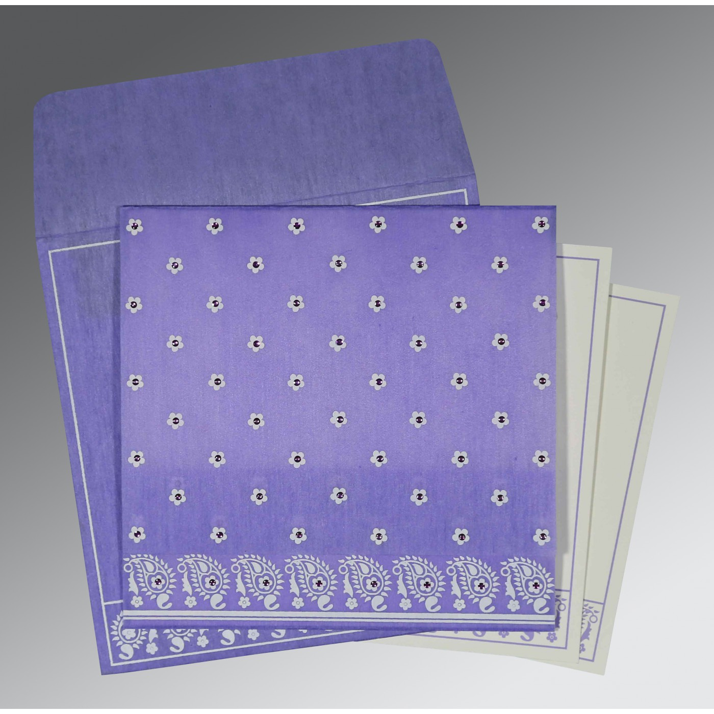 PINK PURPLE WOOLY FLORAL THEMED - SCREEN PRINTED WEDDING CARD : AG-8218H - A2zWeddingCards