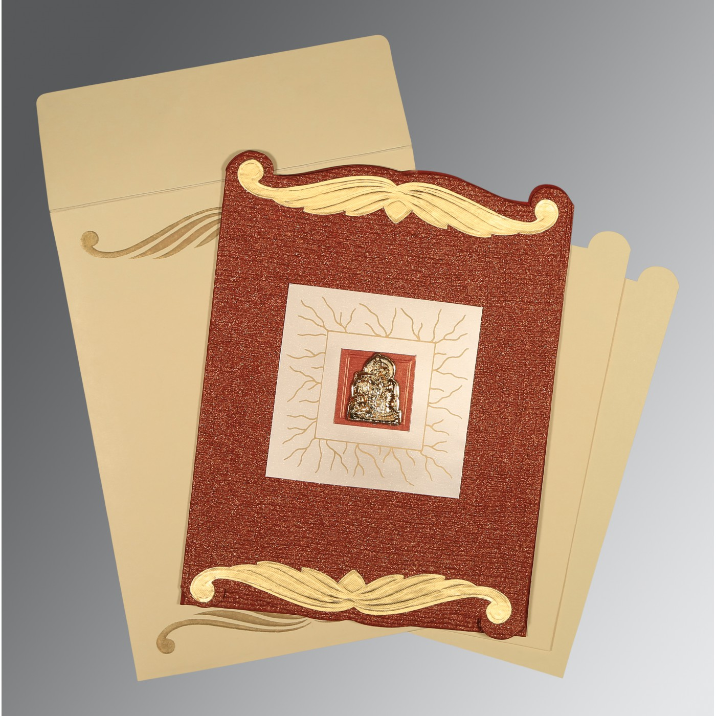 BRICK RED GOLD SHIMMERY EMBOSSED WEDDING CARD : AG-1412 - A2zWeddingCards
