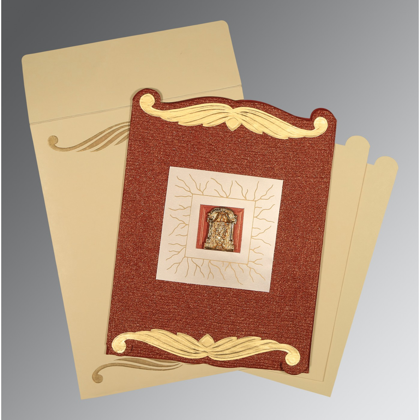 BRICK RED GOLD SHIMMERY EMBOSSED WEDDING CARD : ASO-1412 - A2zWeddingCards