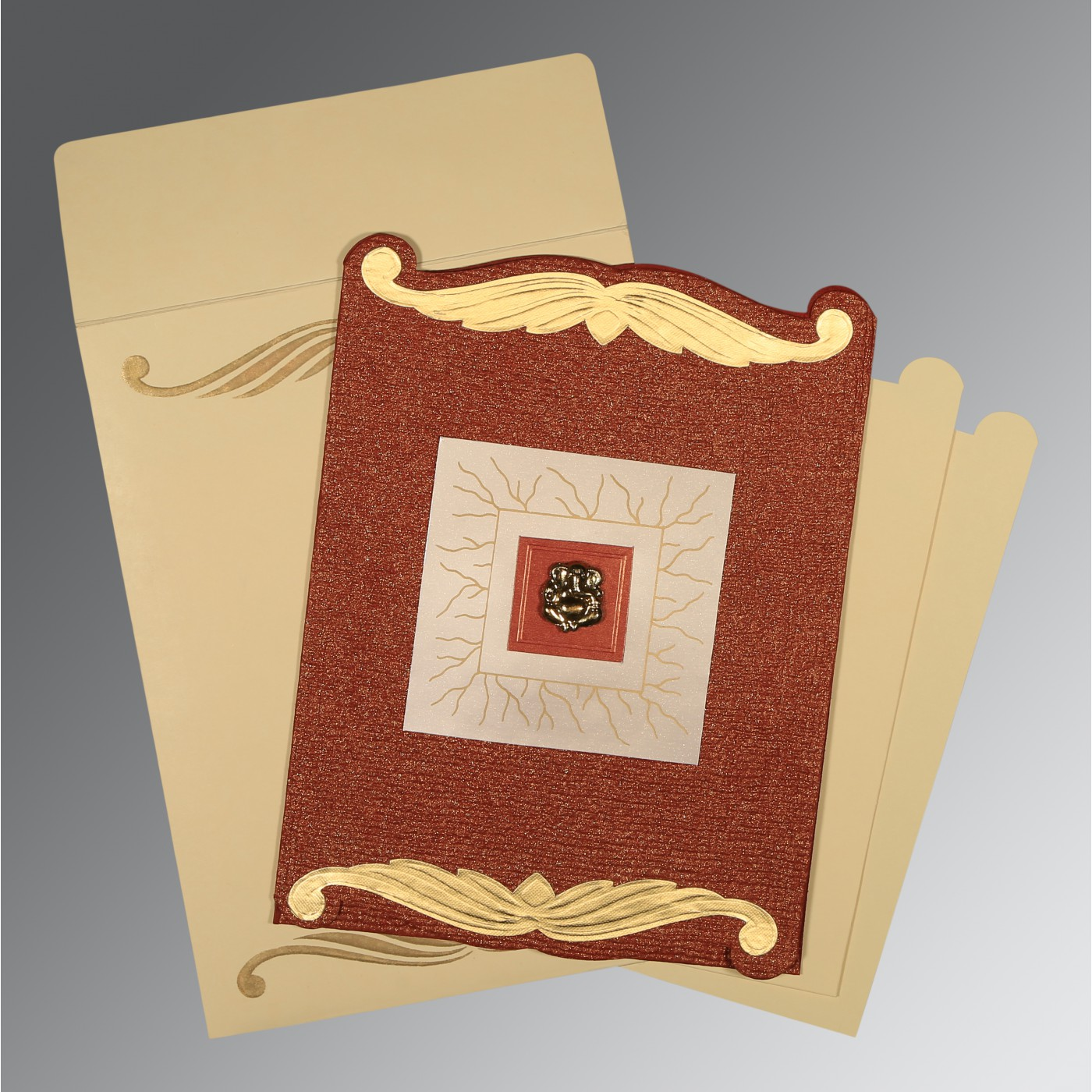 BRICK RED GOLD SHIMMERY EMBOSSED WEDDING CARD : AW-1412 - A2zWeddingCards
