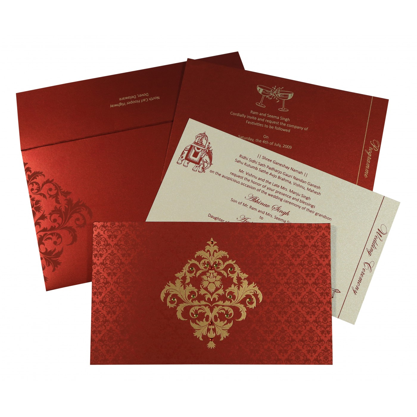 MODERATE RED SHIMMERY DAMASK THEMED - SCREEN PRINTED WEDDING CARD : AW-8257H - A2zWeddingCards