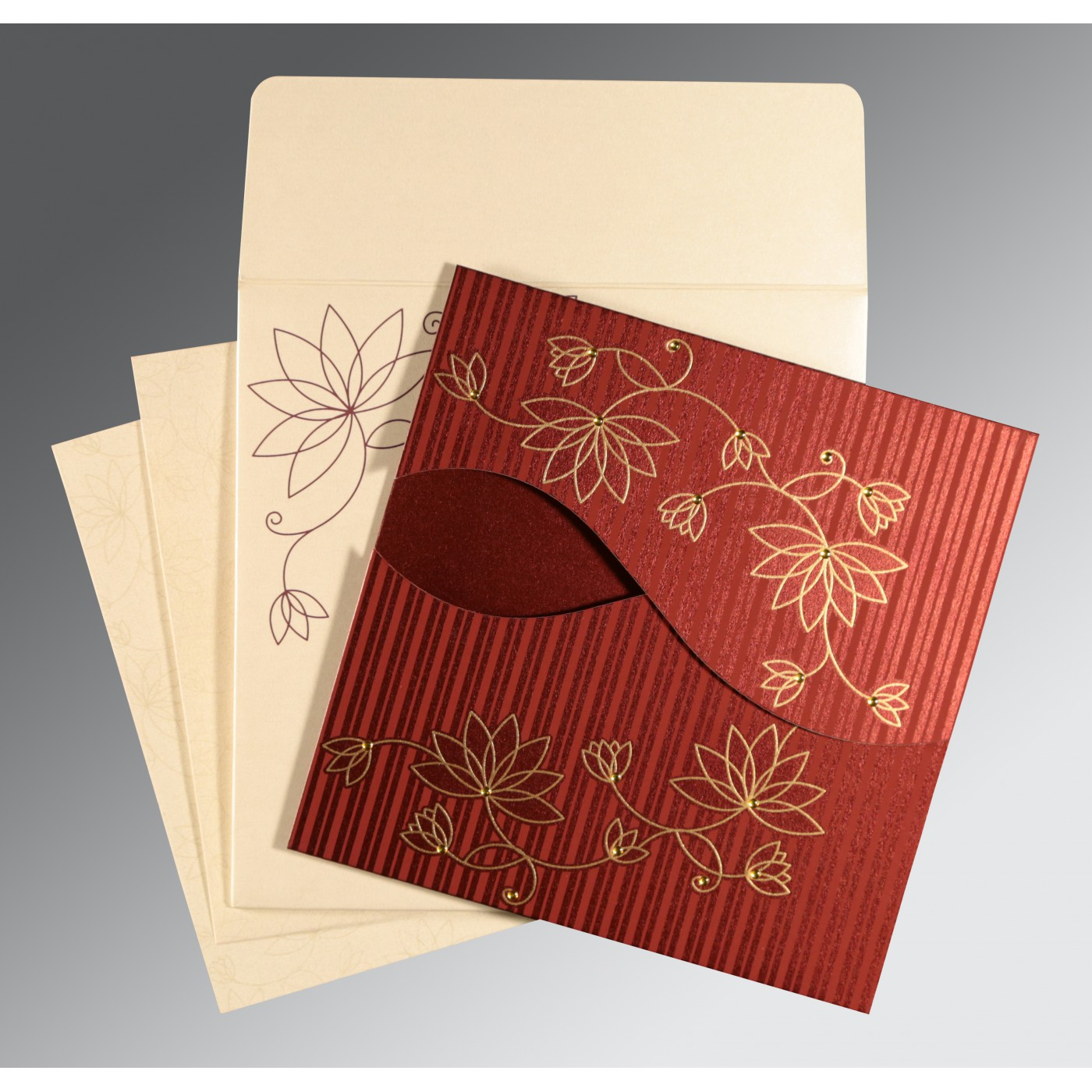 WINE RED SHIMMERY FLORAL THEMED - SCREEN PRINTED WEDDING INVITATION : AC-8251L - A2zWeddingCards