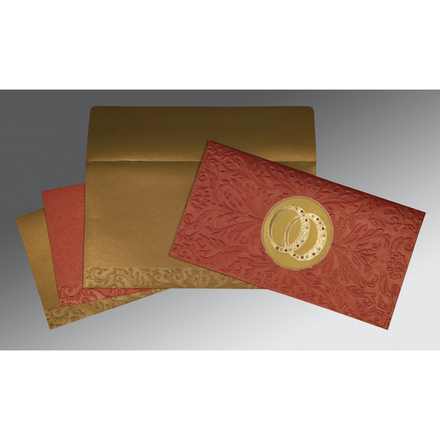BRICK RED COPPER SHIMMERY FOIL STAMPED WEDDING CARD : ASO-1465 - A2zWeddingCards