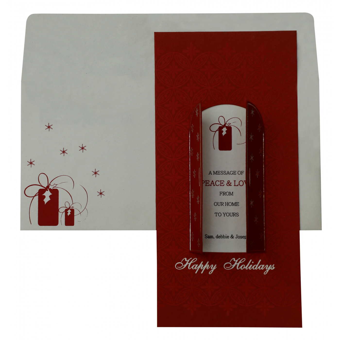 WHITE RED HANDMADE COTTON FOIL STAMPED HOLIDAY CARDS : AH-855 - A2zWeddingCards
