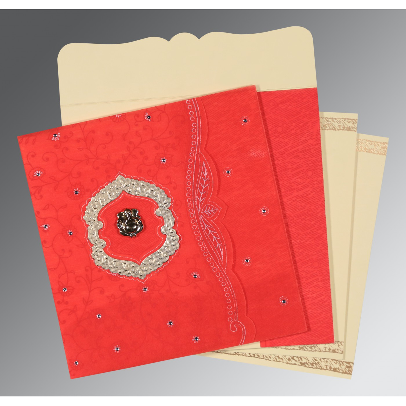 SCARLET SHIMMERY FLORAL THEMED - EMBOSSED WEDDING CARD : AIN-8209I - A2zWeddingCards
