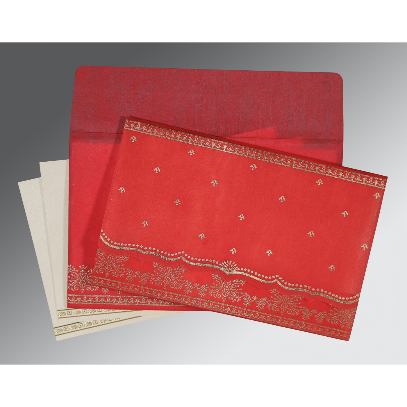 IMPERIAL RED WOOLY FOIL STAMPED WEDDING INVITATION : AG-8241Q - A2zWeddingCards