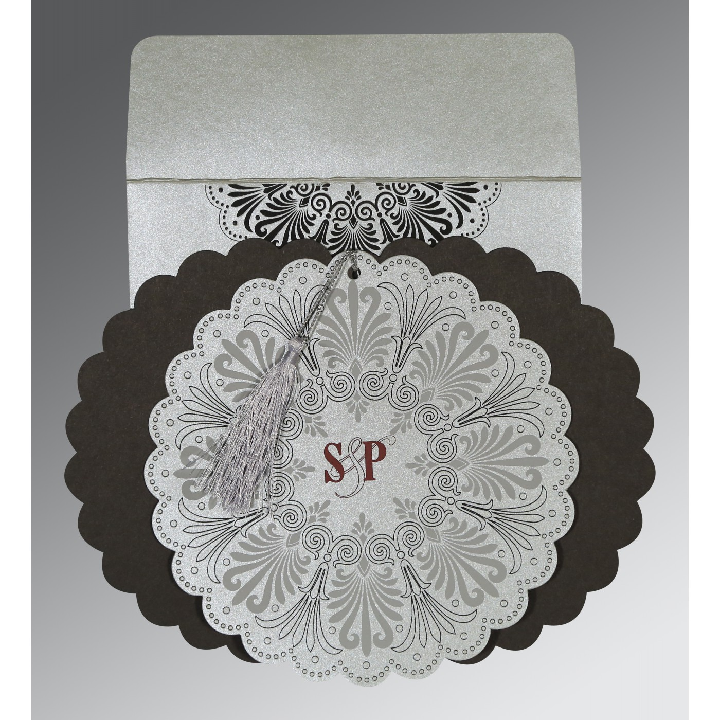 SILVER SHIMMERY FLORAL THEMED - EMBOSSED WEDDING CARD : AD-8238A - A2zWeddingCards