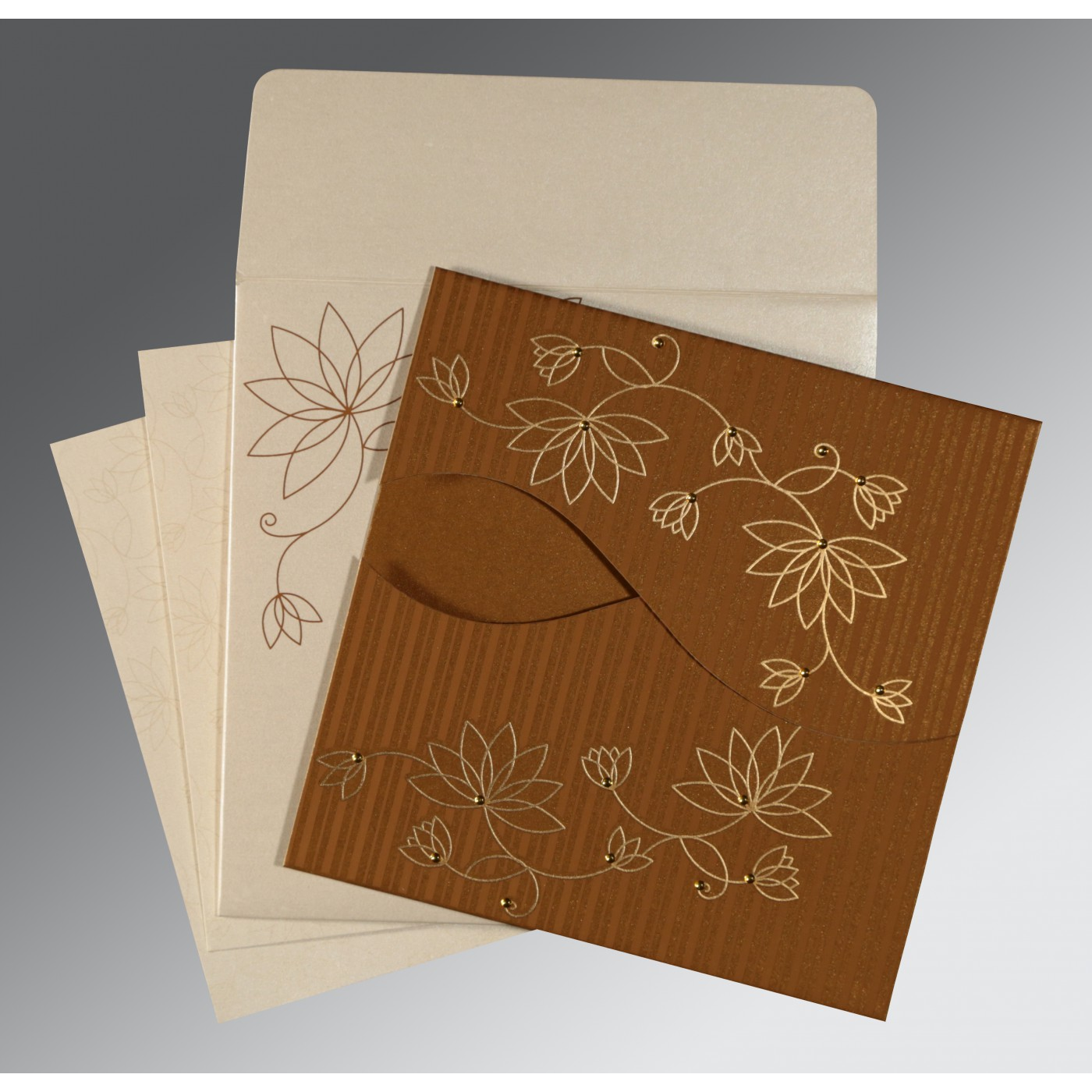 COPPER SHIMMERY FLORAL THEMED - SCREEN PRINTED WEDDING INVITATION : AS-8251M - A2zWeddingCards
