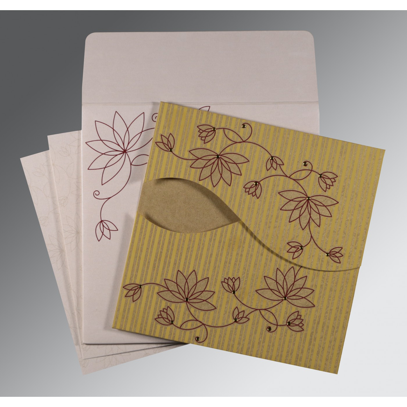 GOLD SHIMMERY FLORAL THEMED - SCREEN PRINTED WEDDING INVITATION : AW-8251E - A2zWeddingCards