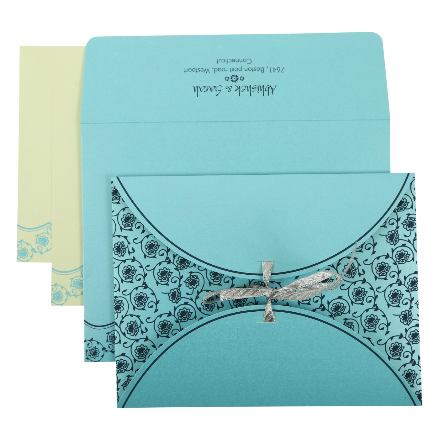 TURQUOISE SHIMMERY BUTTERFLY THEMED - SCREEN PRINTED WEDDING INVITATION : ASO-821B - A2zWeddingCards