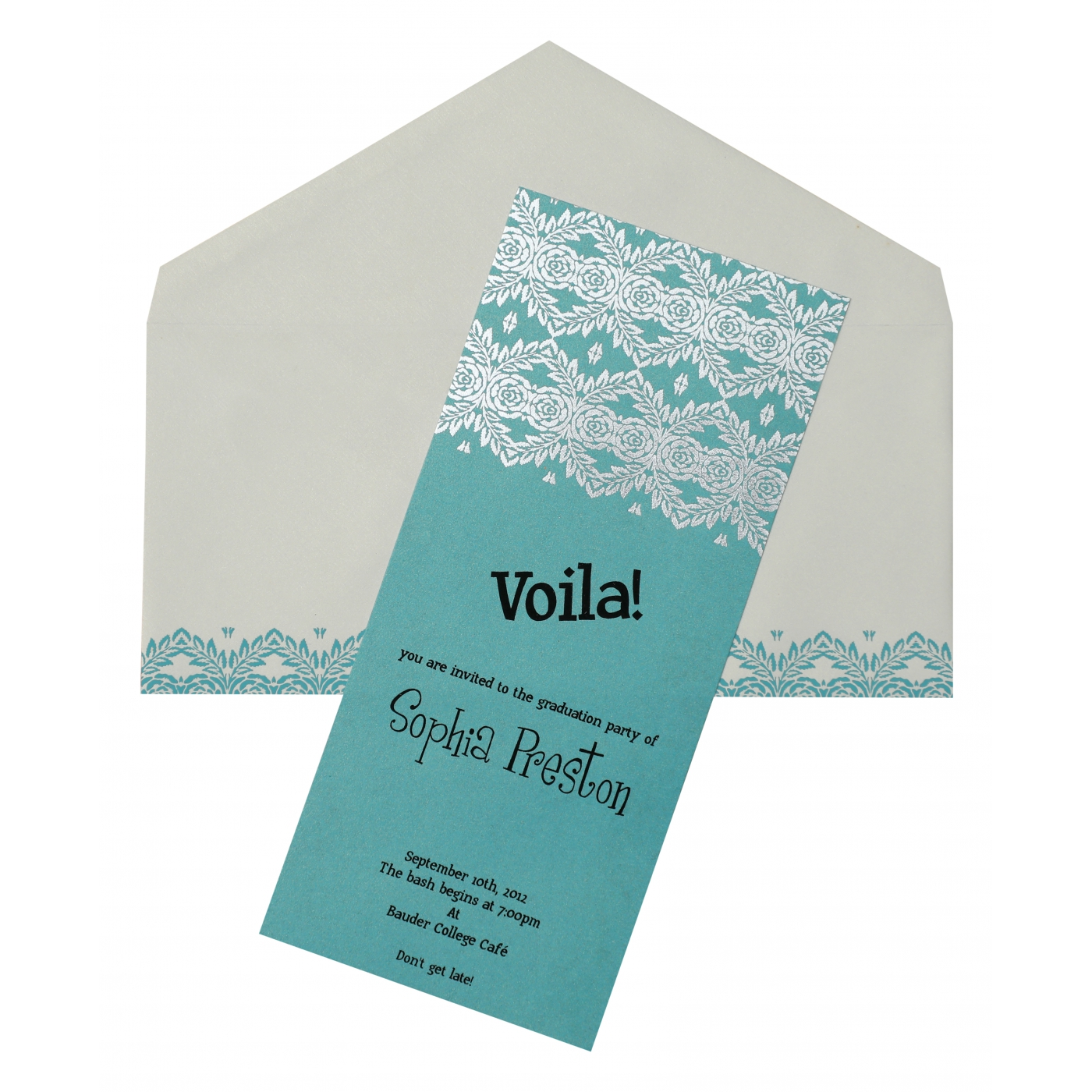 TURQUOISE SHIMMERY FOIL STAMPED PARTY CARDS : APY-893 - A2zWeddingCards