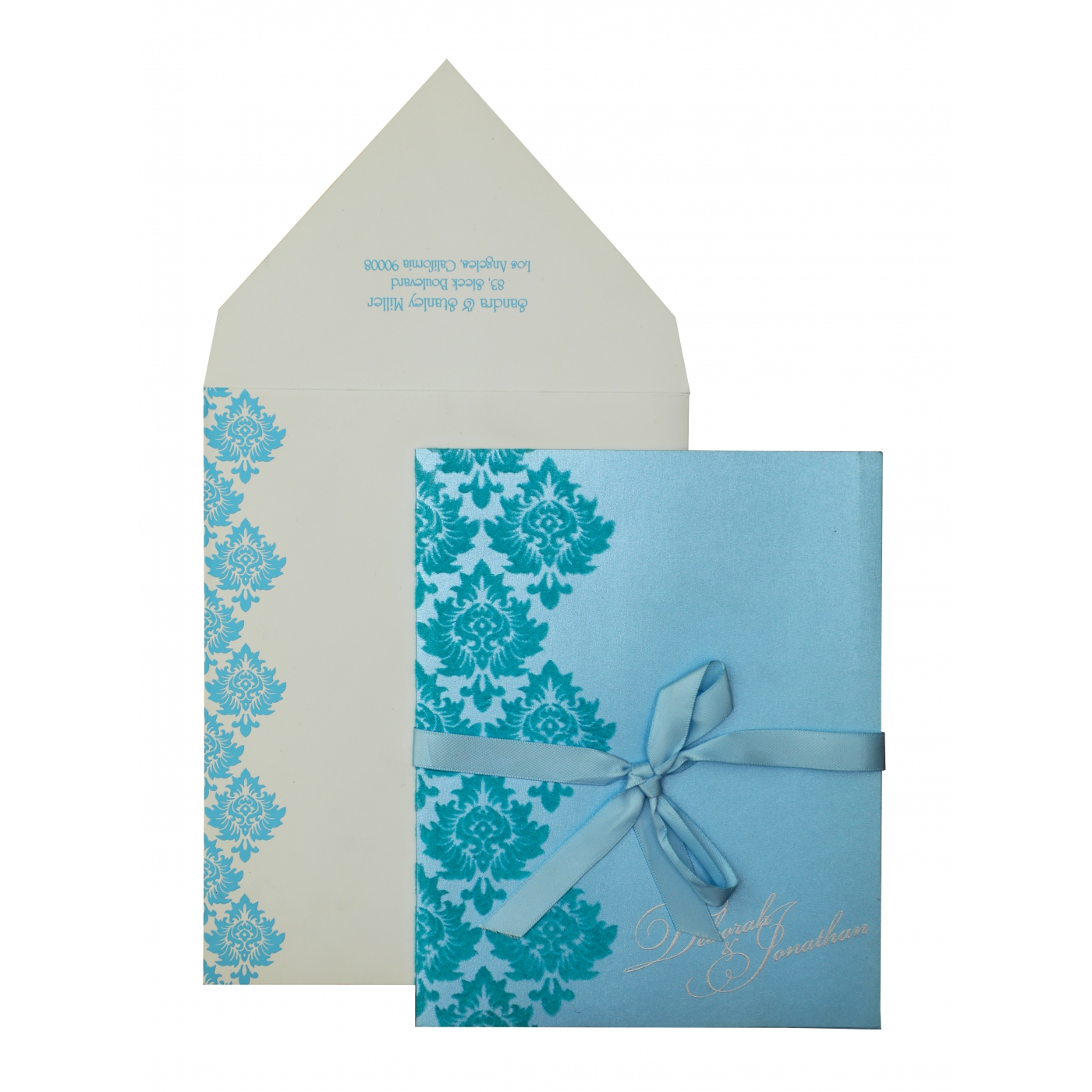 TURQUOISE SHIMMERY SCREEN PRINTED WEDDING INVITATION : AW-835 - A2zWeddingCards