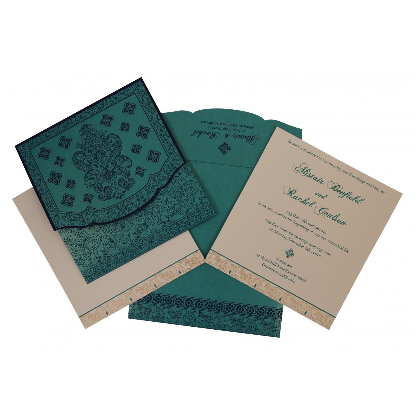 TURQUOISE SHIMMERY SCREEN PRINTED WEDDING INVITATION : AD-800D - A2zWeddingCards