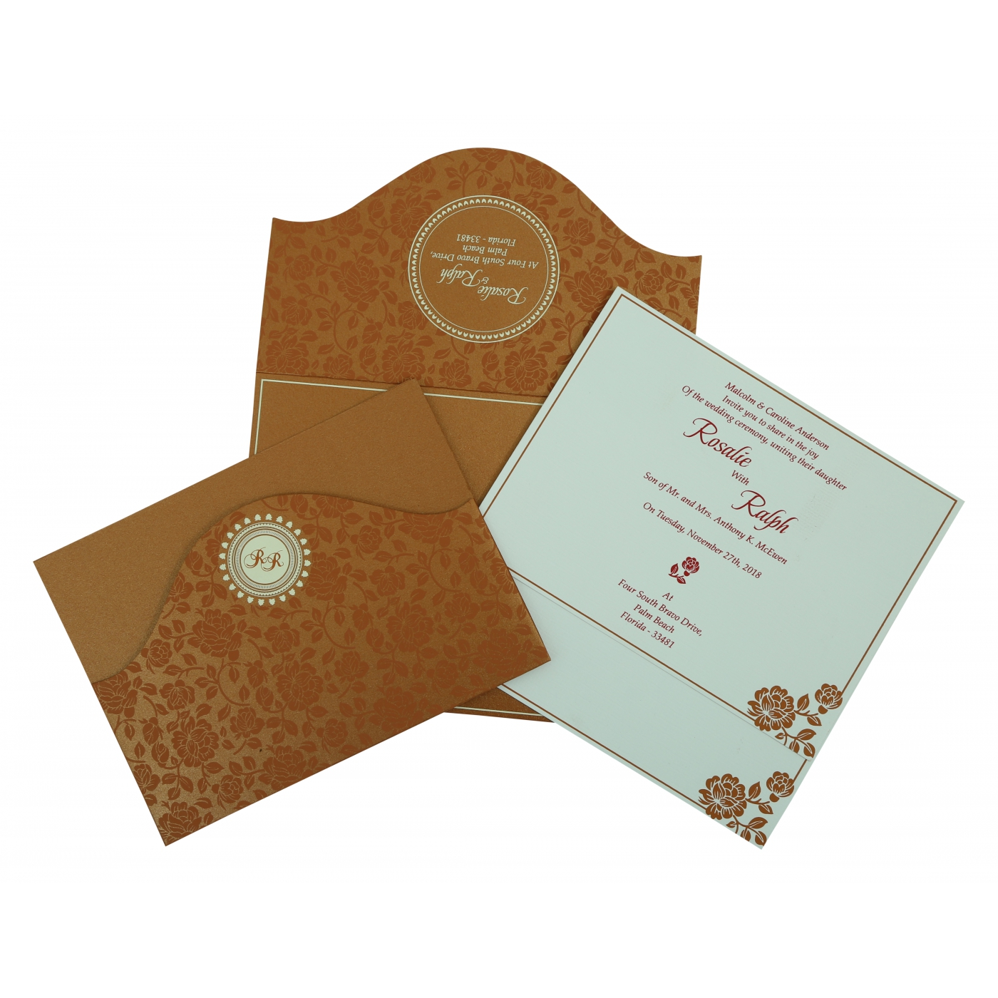 COPPER SHIMMERY FLORAL THEMED - SCREEN PRINTED WEDDING INVITATION : AS-802E - A2zWeddingCards