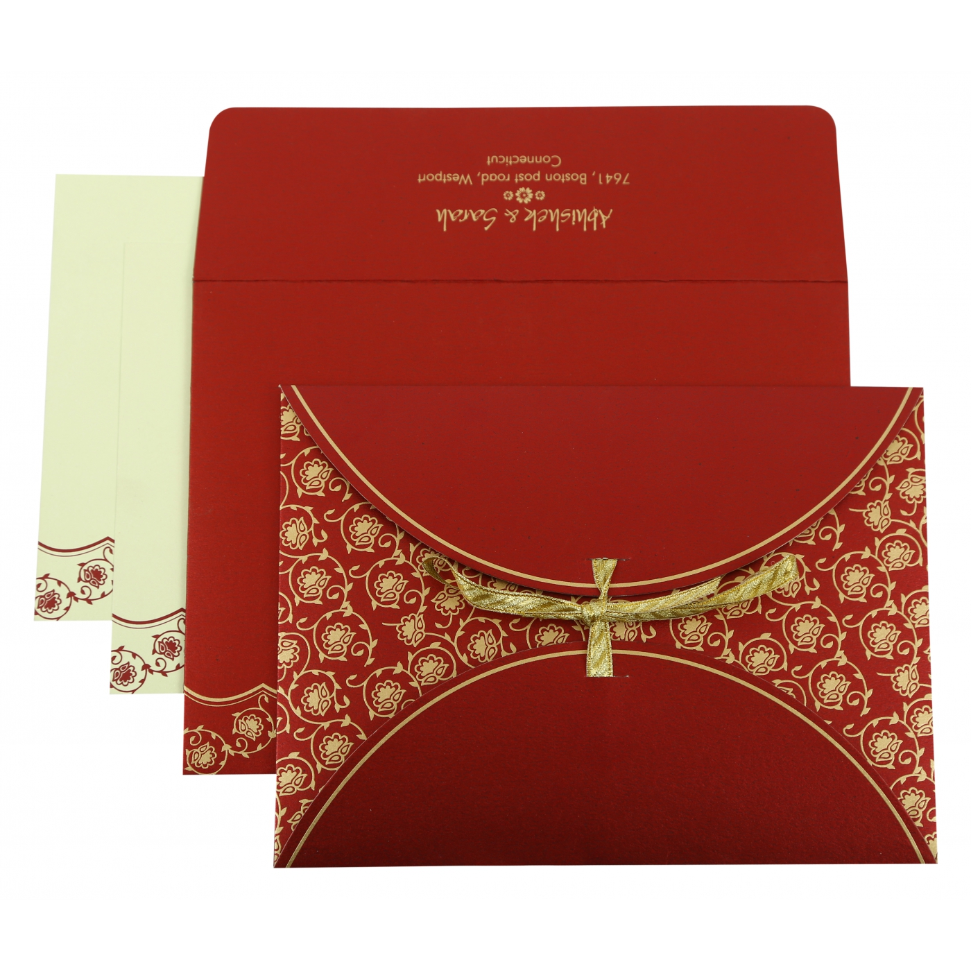 WINE RED SHIMMERY BUTTERFLY THEMED - SCREEN PRINTED WEDDING INVITATION : AC-821D - A2zWeddingCards