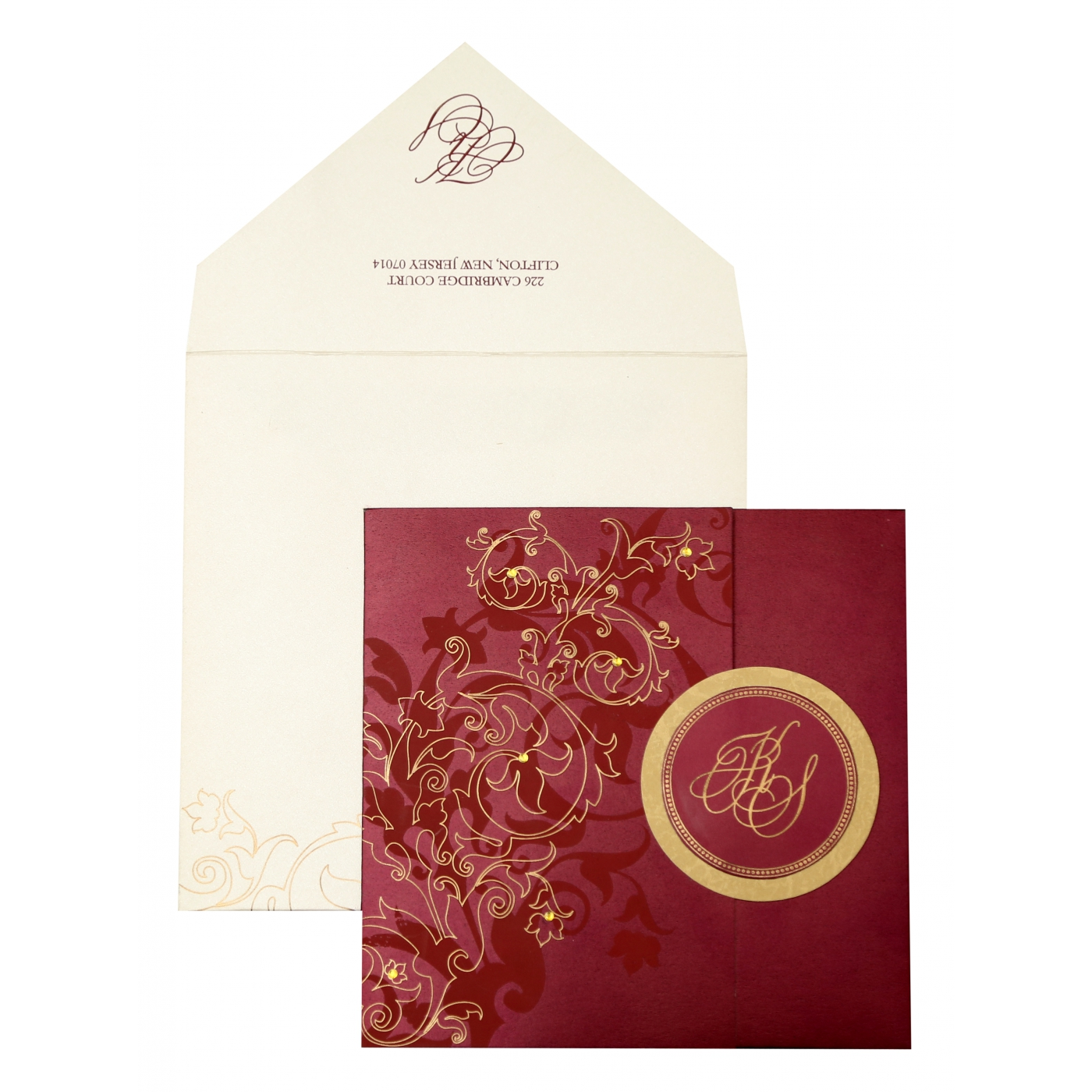 WINE RED SHIMMERY FLORAL THEMED - SCREEN PRINTED WEDDING INVITATION : AIN-843 - A2zWeddingCards