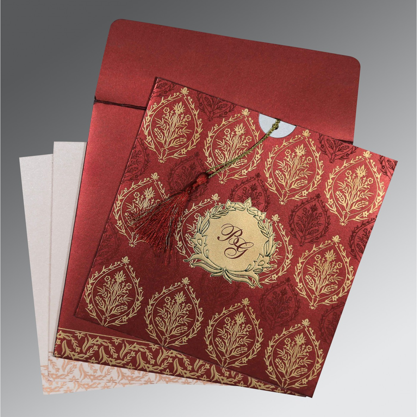WINE RED SHIMMERY UNIQUE THEMED - FOIL STAMPED WEDDING CARD : AS-8249L - A2zWeddingCards