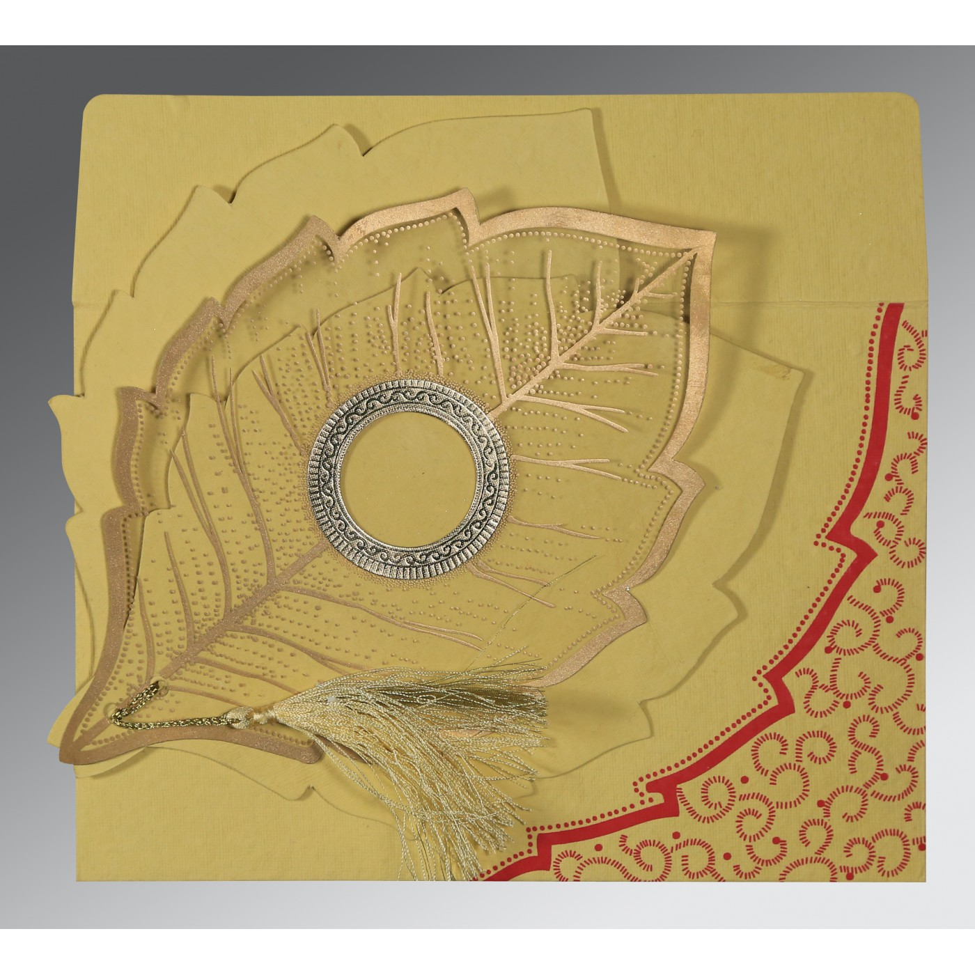 MUSTARD YELLOW HANDMADE COTTON FLORAL THEMED - FOIL STAMPED WEDDING CARD : ASO-8219G - A2zWeddingCards
