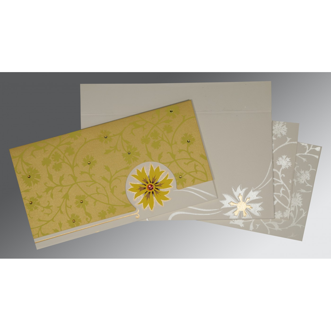 OFF-WHITE YELLOW MATTE FLORAL THEMED - EMBOSSED WEDDING CARD : AC-1380 - A2zWeddingCards