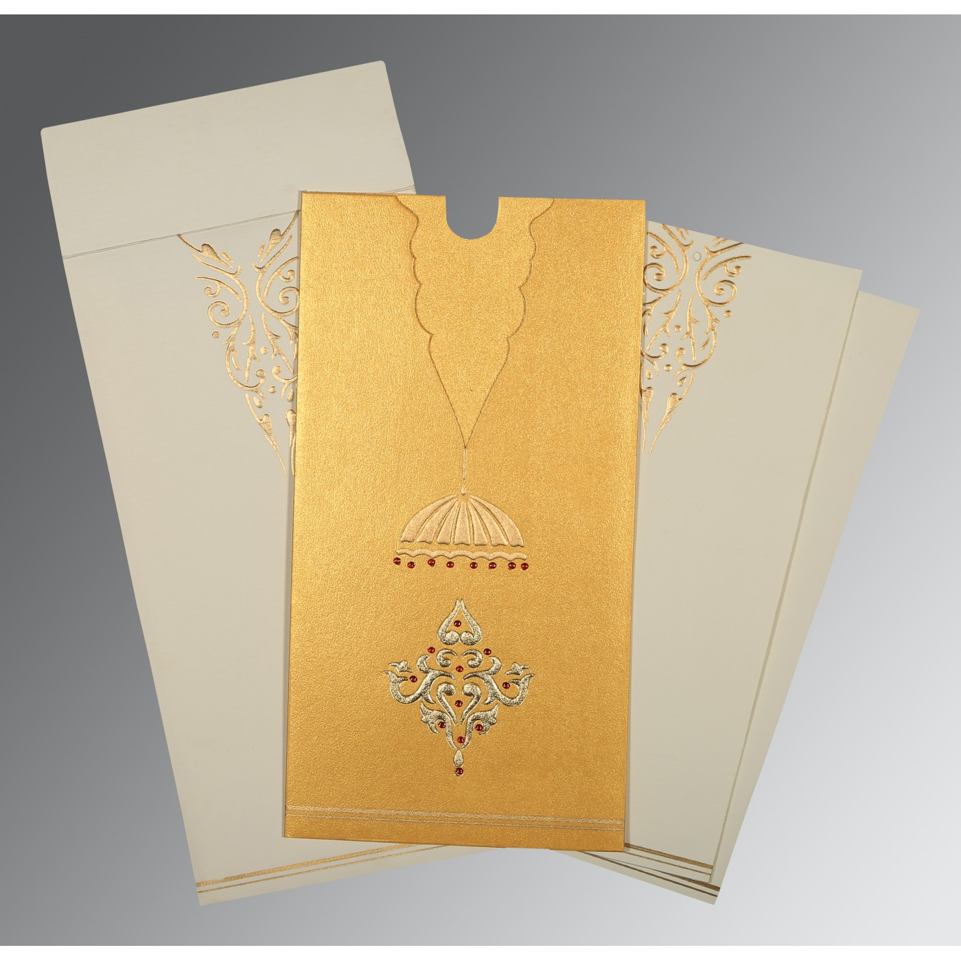 YELLOW GOLD SHIMMERY FOIL STAMPED WEDDING CARD : AI-1350 - A2zWeddingCards