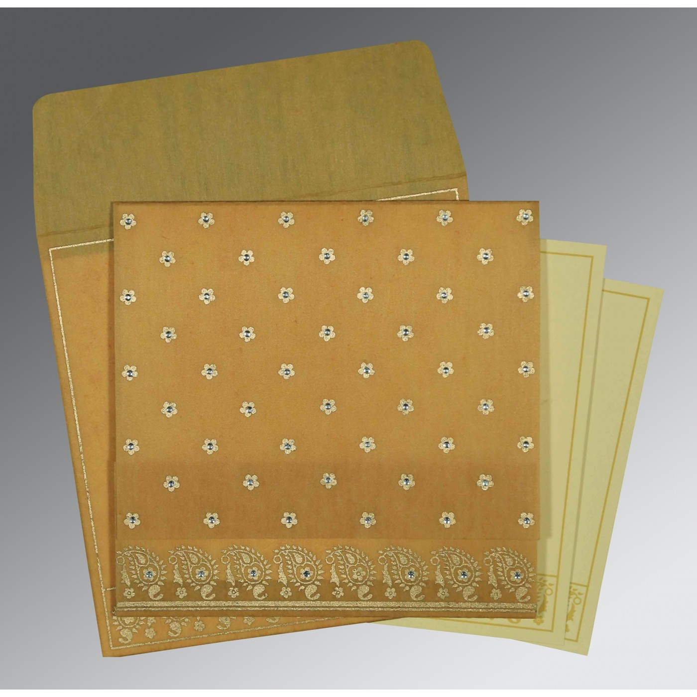SATIN GOLD WOOLY FLORAL THEMED - SCREEN PRINTED WEDDING CARD : AS-8218N - A2zWeddingCards